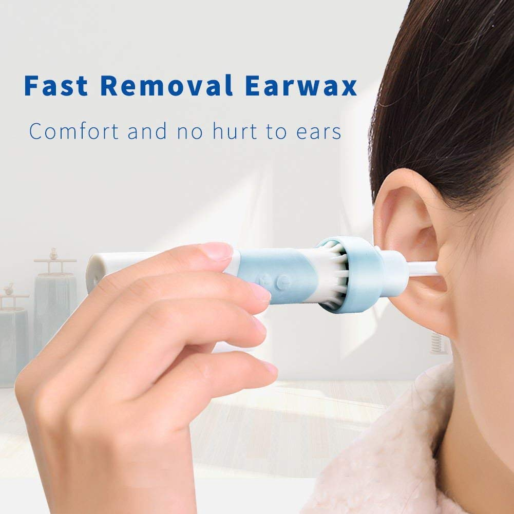 Ear Wax Remover, Sea pioneer Ear Cleaner Electric Earwax Remover with LED Safe and Soft Ear-Pick Tool Upgraded Ear Wax Removal Kit with 2 Heads for Adults and Kids