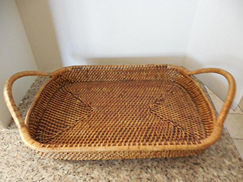 Pampered Chef Large Woven-Selections-Rattan-Wicker-Basket-Tray-11 X16