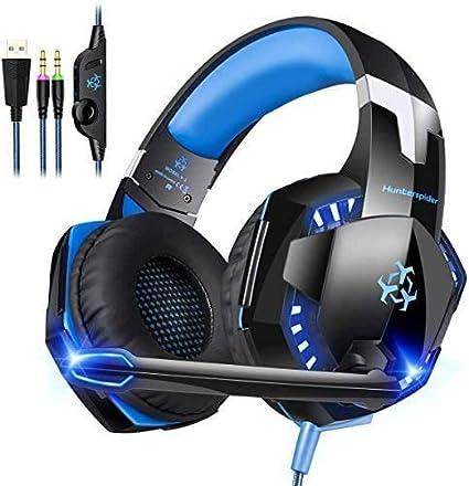 Cocoda Casque Gaming, Casque Confortable pour PCOrdinateur, Casques Stéréo avec Micro, Lumière LED, Contrôle du Volume, Isolation Acoustique et