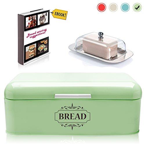 Vintage Bread Box For Kitchen Stainless Steel Metal in Retro