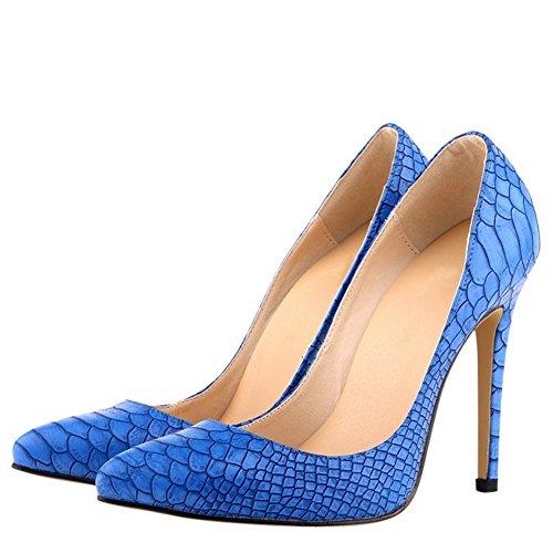 Womens Fashion Animal Print Stiletto Heels Dress Pumps Blue WMtd4TjuC