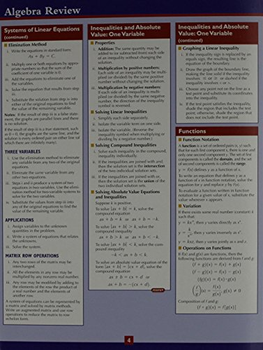 Algebra Review Study Card (2nd Edition)