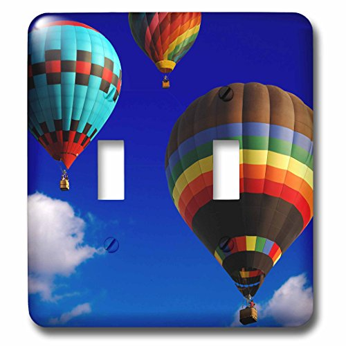 3dRose lsp_154982_2  Hot Air Balloons Racing in The Blue Sky Double Toggle Switch by 3dRose