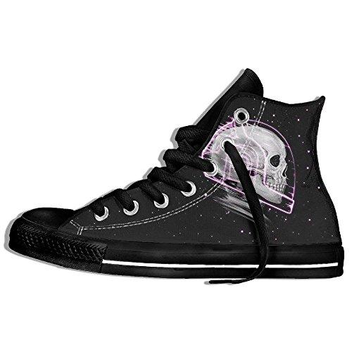 Classiche Sneakers Alte Scarpe Di Tela Anti-skid Cranio Astronauta Spazio Casual Da Passeggio Per Uomo Donna Nero