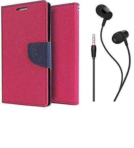 anzio plastic wallet Flip Cover plus handsfree for lenovo a6000/ a6000 plus  pink