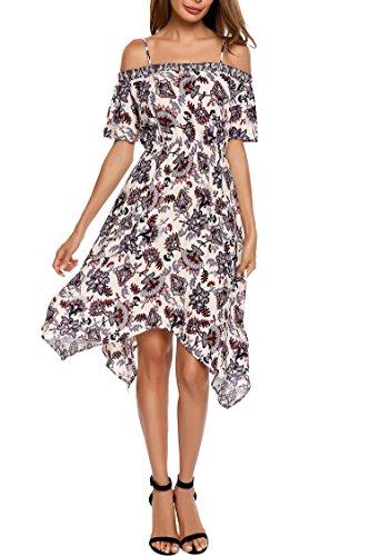 ELESOL Women's Boho Spaghetti Straps Asymmetrical Floral Print Party Casual Dress Wine Red S (Asymmetrical Floral Prom Dress)