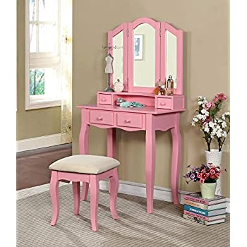 Fine Amazon Com Margery Girls Bedroom 3 Piece Set Vanity Table Download Free Architecture Designs Philgrimeyleaguecom