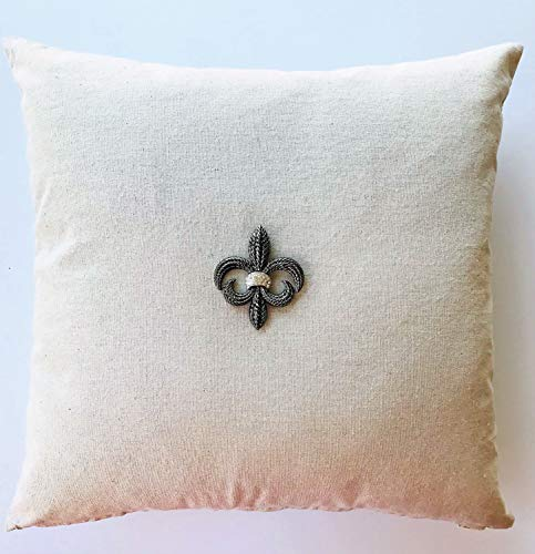 Evelyn Hope Collection Tan Linen French Fleur di Lis Pillow with Removable Silver Necklace-pin-French Pillow,Linen Pillow,Gold Pillow,Paris Pillow