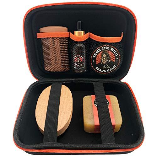TAME'S PREMIUM BEARD GROOMING KIT - Natural Beard Care Kit For Men - Orange Walnut Beard Soap - Beard Balm - 100% Boar's Hair Beard Brush - Double Sided Beard Comb - Beard Oil - Travel Storage Case