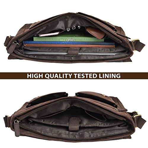 Leather Messenger Bag for Men & Women 14inch laptop Bag for Travel College Work - Handmade by LEVOGUE (Brown Oily Hunter) by LEVOGUE (Image #4)