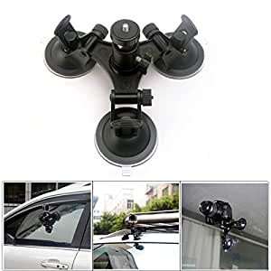 TUYUNG Action Video Triple Cup Camera Suction Mount w/ Ball Head for Nikon Canon Sony DSLR / Camcorder, GoPro Hero 5 / 4 / 3, SJCAM SJ4000, SJ4000WIFI, SJ5000 Cameras Car Mount Holder