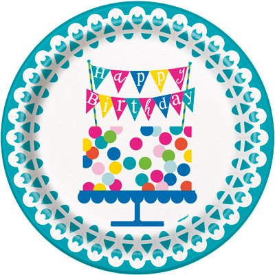 Confetti Birthday Deluxe Party Pack Serves 16 Plates Cups Napkins & Tablecloth by JJ Party Supplies