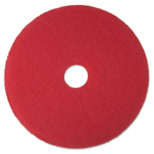 "3M 08392 Low-Speed Buffer Floor Pads 5100, 17"" Diameter, Red, 5/Carton"