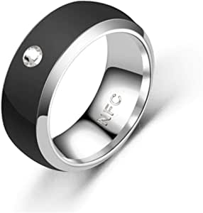 Eachbid Smart Ring Multifunctional Waterproof Intelligent Diamond Technology Finger Smart Wear Finger Digital Ring for NFC Mobile Phone Black 6