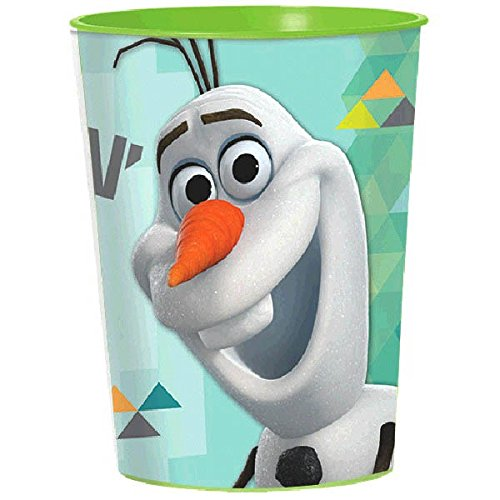Disney Olaf Plastic Cup Tableware, Party Favour or Drinkware (1 Piece), Sky Blue/Teal, 16 oz.. -