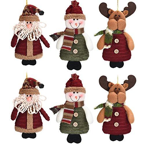 KIAYACI Plush Hanging Christmas Ornament Sets Adorable Santa Snowman Reindeer 6PK Home Party Holiday Decoration