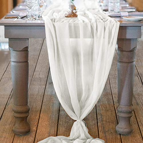Mixsuperstore Ivory Chiffon Table Runner 29x122 Inches Romantic Wedding Runner Sheer Bridal Party Decorations