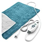 """PURE ENRICHMENT PureRelief XL King Size Heating Pad (Turquoise Blue) - Fast-Heating Machine-Washable Pad - 6 Temperature Settings, Moist Heat Therapy Option, Auto Shut-Off and Storage Bag - 12"""" x 24"""""""