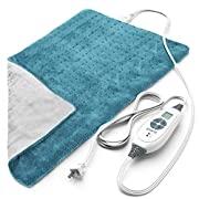 Pure Enrichment® PureRelief™ XL (12″x24″) Electric Heating Pad for Back Pain and Cramps – 6 InstaHeat™ Settings, Machine-Washable, Ultra-Soft Microplush, Auto Shut-Off, and Moist Heat (Turquoise Blue)
