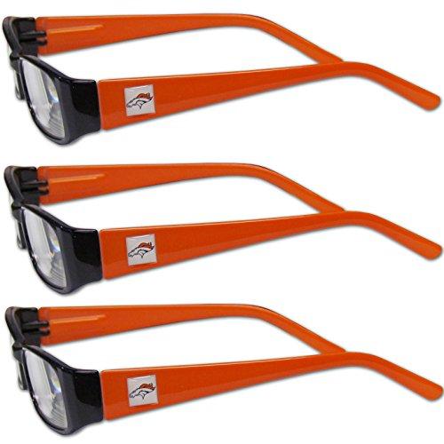 Siskiyou NFL Denver Broncos Adult Reading Glasses (3-Pack), Orange, Reading Power: +2.50