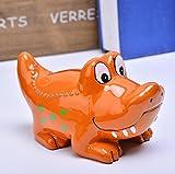 Royarebar Lovely Coin Box Savings Storage Small Alligator Piggy Bank Handmade Ceramic Crafts Holiday Presents (Orange)