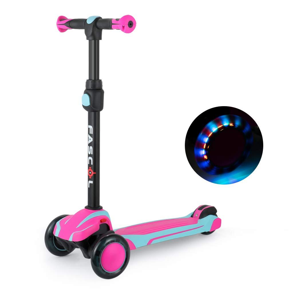 Fascol Patinete de 3 Ruedas para Niños de 3 a 12 Años, Luces LED, Scooter Plegado Desmontable y 5 Alturas Ajustables en T, Carga Máxima 60 kg