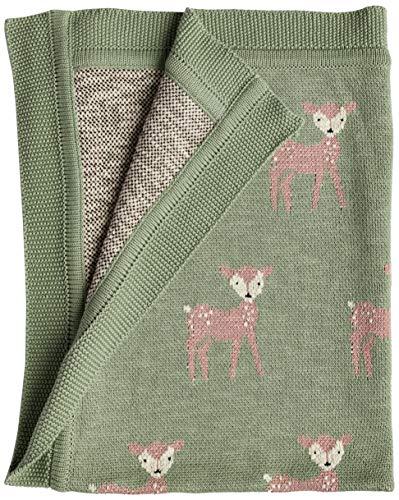 Creative Co-Op Cotton Knit Baby Blanket with Fawn, 40
