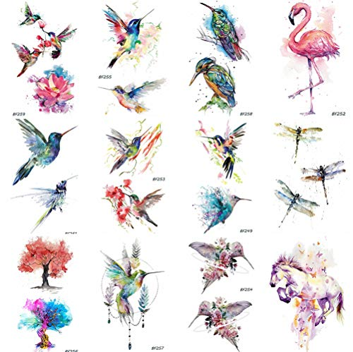 12 Pieces/Lot Watercolor Flying Birds Flash Fake Waterproof Tattoos Stickers Paper Funny Hummingbird Kids Body Arm Temporary Tattoos Flamingo Women Chest Art Decals 10x6cm
