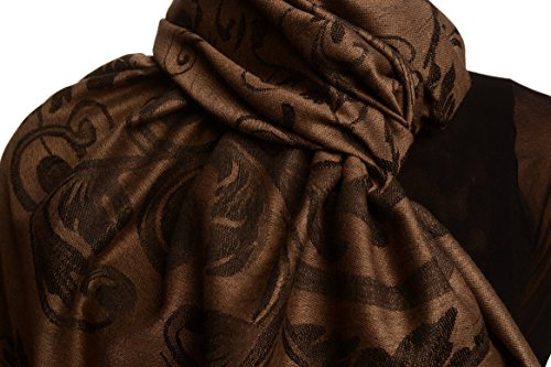 Fern Leaves On Brown Pashmina Feel With Tassels - Marron ?charpe Taille Unique - 70cm x 180cm