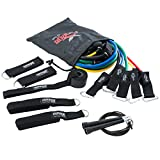 Exercise Resistance Bands Set with Speed Jump Rope the Ultimate Circuit Workout Experience by RENEG8 – Includes 5 Stackable Exercise Bands, Ankle Straps, Door Anchor and Ebook Manual (Dark)