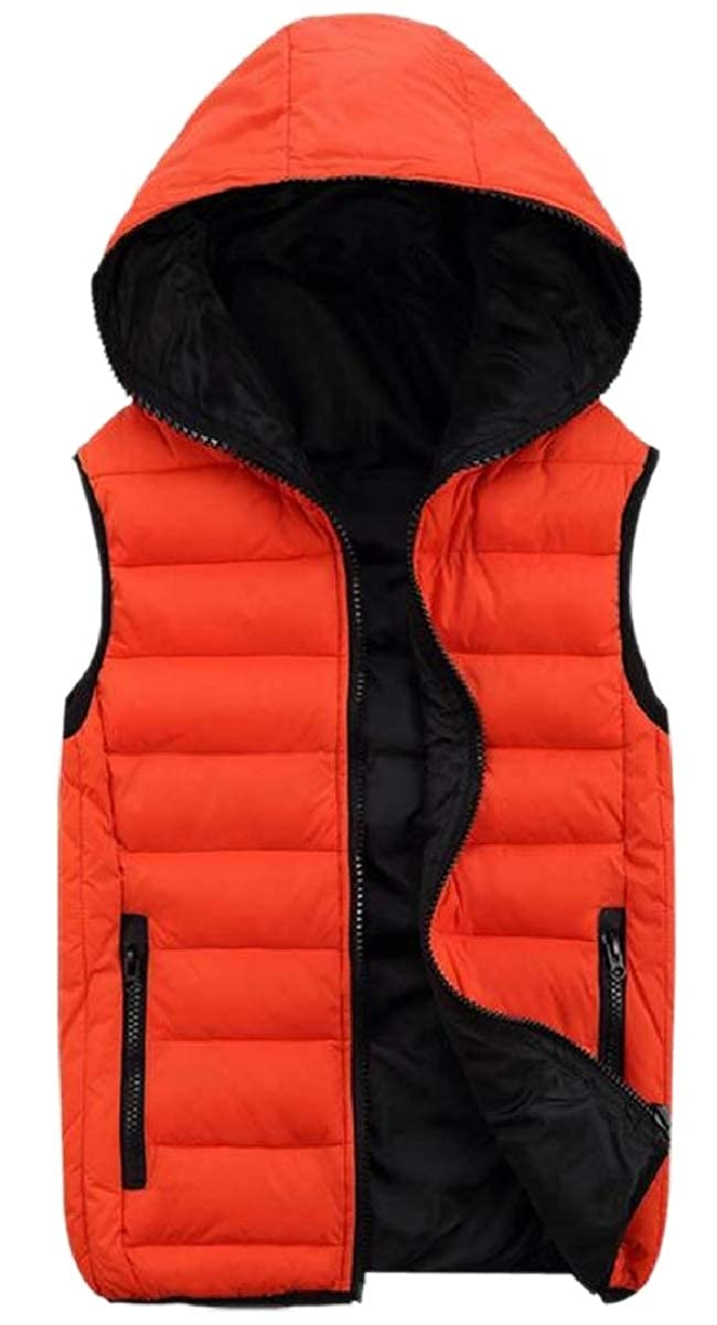 ONTBYB Mens Plus-Size Hooded Vest Thermal Down Coat Ultra Thin Sleeveless Outerwear