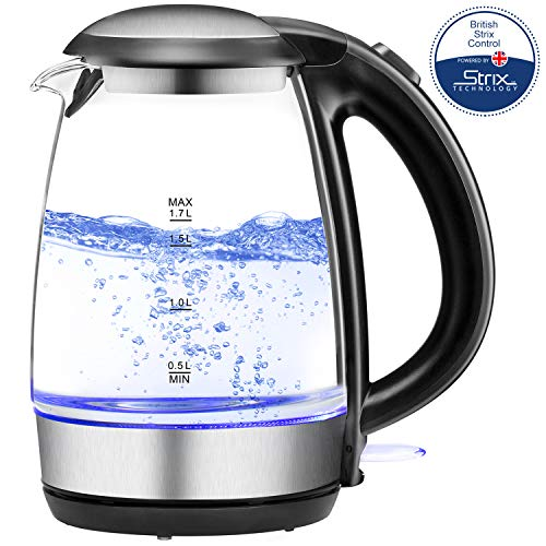Electric Tea Kettle 1.7L, Plemo 1500W Electric Glass and Steel Kettle, BPA-Free & Boil-Dry Protection Hot Water Kettle Heater With Auto Shut-Off, LED Indicator Light Fast Boiling Coffee Kettle