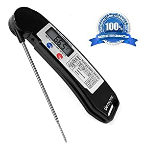 Digital Meat Food Thermometer - Siensync Super Fast Instant Read Cooking Thermometer with Collapsible Internal Probe, Electronic Thermometer for Barbecue / Grill / Milk / Candy / Bath Water
