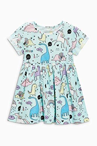Bumeex Little Girls Cotton Casual Cartoon Print Short Sleeve Skirt Dresses ()