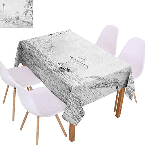 Marilec Washable Table Cloth Beach Seascape Sketch with Boat Palm Tree and Lighthouse Coastal Hand Drawn Artwork Washable Tablecloth W52 xL72 Black and White