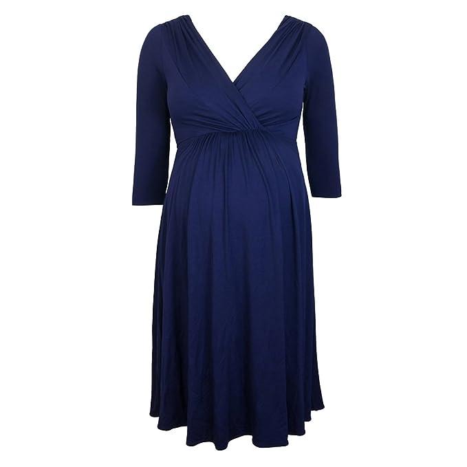 Decdeal - Vestido de Moda para Premamá Embarazada, Cuello en V, Medias Mangas,