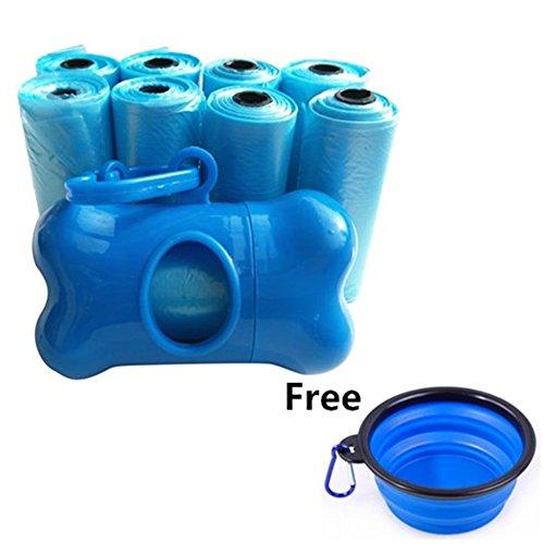 Leash Plastic Dog (Lifestyle Color Dog Waste poop bags 8Rolls, Including Plastic Dog Poop Bag Holder Dispenser 1 Pack Portable Collapsible Dog Bowl,Foldable Travel Bowl Dish)