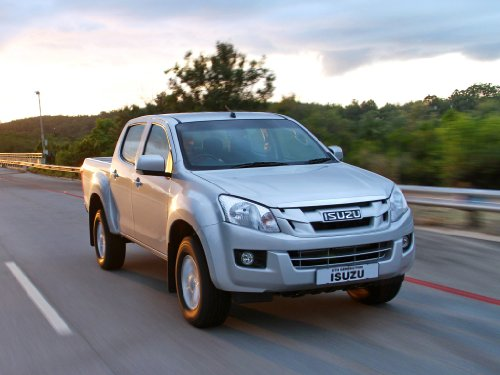 Isuzu KB 250 Double Cab Truck Art Poster Print on 10 mil Archival Satin Paper White Front Passenger Side Speed View 20