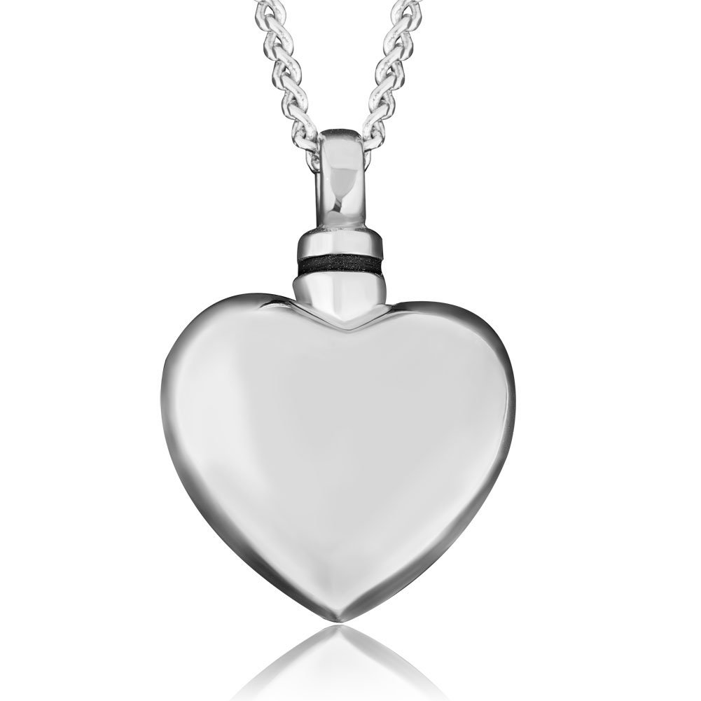 JewelryJo Urn Necklace for Ashes Dad Mom Cremation Keepsake Memorial Pure Polished Love Heart Pendant