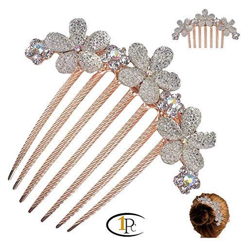 (FINGER LOVE France Luxury Pearl Rhinestone Floral Vantage Handmade French Twist Comb (G))