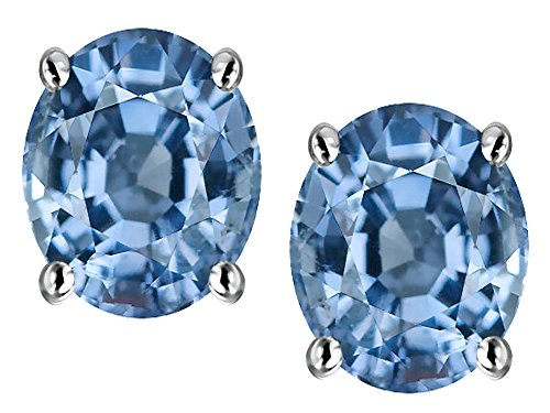 Oval Spinel Earrings - Star K Oval 8x6mm Simulated Aquamarine Earrings Studs Sterling Silver