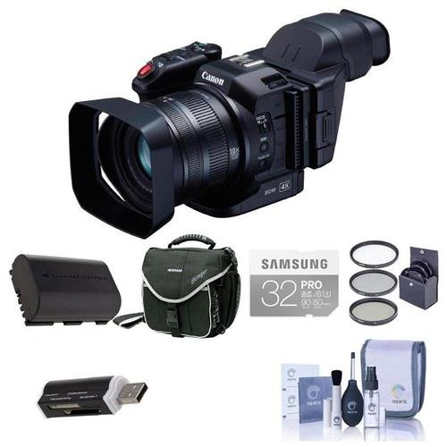 Canon XC10 Ultra High Definition 4K Professional Camcorder - Bundle With 32GB Class 10 U3 SDHC Card, Spare Battery, Video Bag, 58mm Filter Kit, Card Reader, Cleaning Kit by Canon