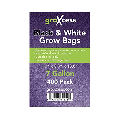 GroXcess Black & White Grow Bags, 400 Pack by GroXcess