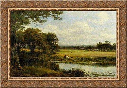(Surrey Cornfields 24x18 Gold Ornate Wood Framed Canvas Art by Leader, Benjamin Williams)