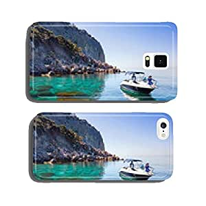 Woman relaxing on boat in sea near shore. Traveling near island cell phone cover case Samsung S5