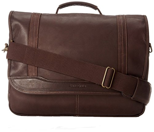 Samsonite Columbian Leather Flapover Briefcase in Brown by Samsonite