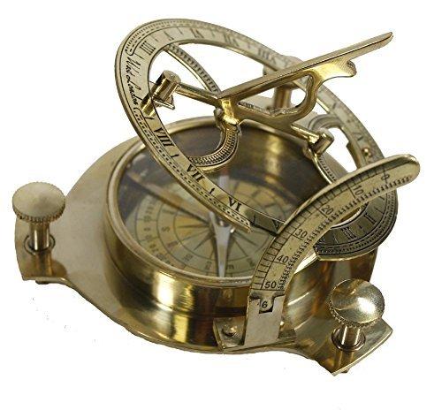 PIRU Nautical Vintage Solid Brass 3' Working Sundial Compass PIRU ENTERPRISES