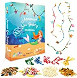Mermaid Jewelry Making Kit for Kids - Make Your Own Mermaid Beaded Pearl Necklace Bracelet Girls Jewelry Kit - Make 15 Pieces of Sea Themed DIY Jewelry - Mermaid Costume for Girls Dress Up Accessories