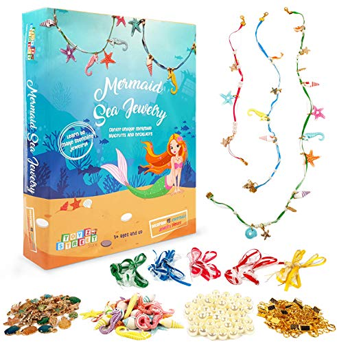 Mermaid Jewelry Making Kit for Kids - Make Your Own Mermaid Beaded Pearl Necklace Bracelet Girls Jewelry Kit - Make 15 Pieces of Sea Themed DIY Jewelry - Mermaid Costume for Girls Dress Up Accessories ()
