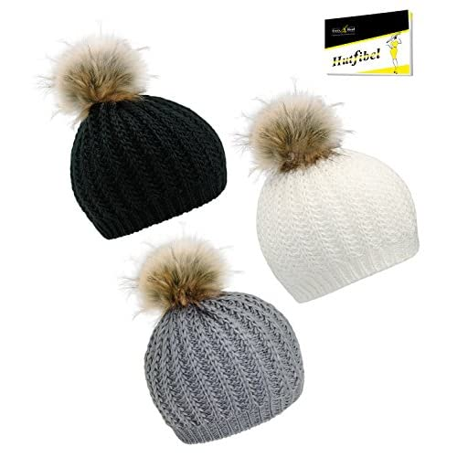 El servicio durable Everyhead Gorro De Punto Chica Gorra Con Borla Borlas  Sombrero Invierno Falso Fur edb7fb34f69